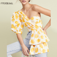FTGSDLONG 2019 Half Sleeve Irregular Blouses New Fashion Women Summer Off Shoulder Shirts Casual Print Crop Top Female Sexy Tide