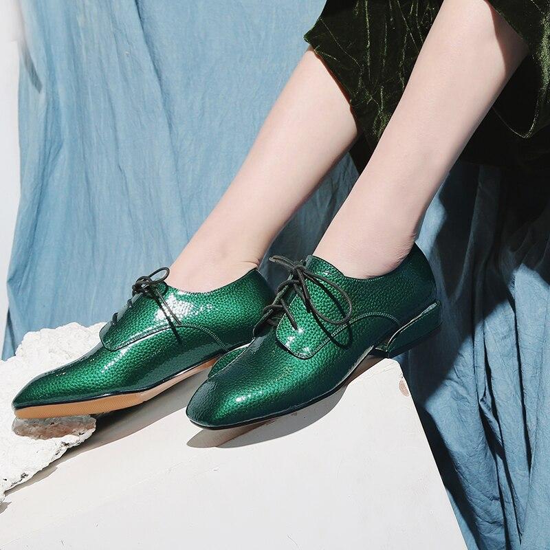 Tacco 34 42 Delle Del Lace Il Pompe Scarpe Cuoio Up Donna verde Formato Spessore Basso Calzature Genuino Nero Donne Britannico Di Stile wCxnTUxA