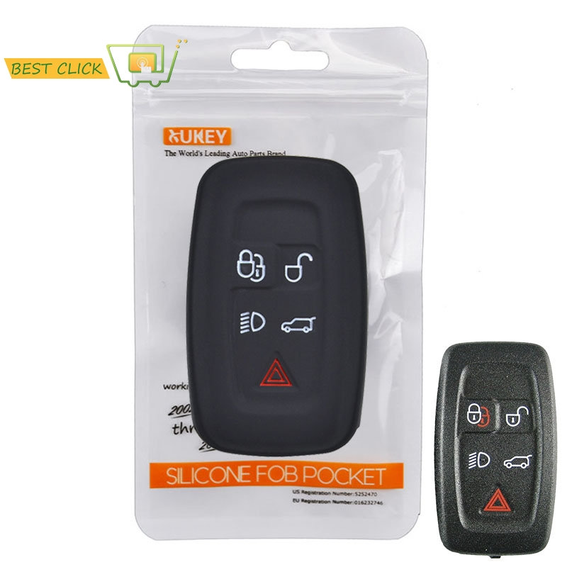 CRYSTAL INSERTED fob Land Rover key chain cover case holder Evoque Velar SVR