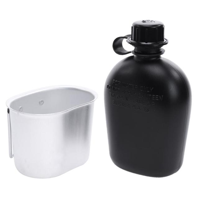 1L Camping Hiking Survival Kettle Heavy Cover Army Water Bottle Aluminum Cooking Cup US Military Canteen Hot Outdoor Tableware 3