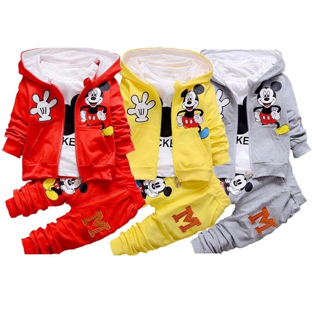 Boy Girls Clothing Set Cartoon Minnie Mickey Children Autumn 3 Pcs Sets Hooded Jacket Coat Vest Suits Kids Coat+ Pants Baby Hat