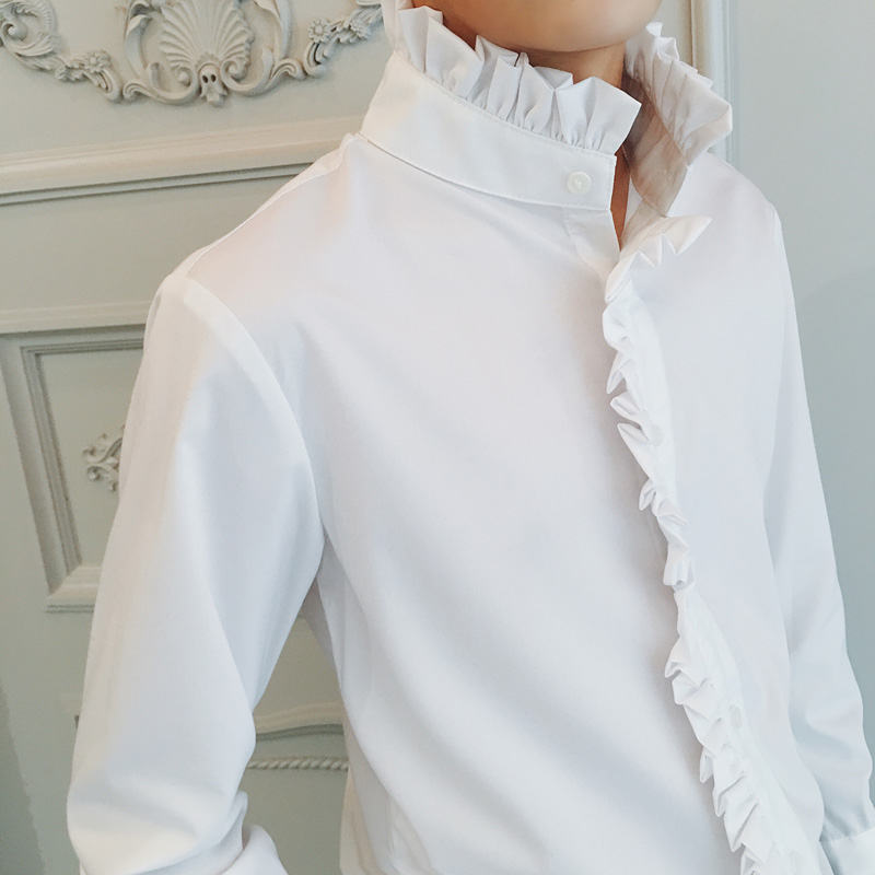 Image 4 - Men Gothic Shirt Cotton Ruffle Stand Collar Flare Long Sleeve Vintage Fashion Tops Retro Black White Shirts New 904 918-in Casual Shirts from Men's Clothing