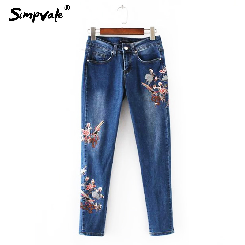 SIMPVALE Autumn Floral Embroidered Women Jeans Mid Waist Slim Denim Pencil Pants Female Ankle-Length Trousers With Embroidery 2017 fashion women jeans retro style floral embroidery ripped hole denim pencil pants vintage mid waist ankle length trousers