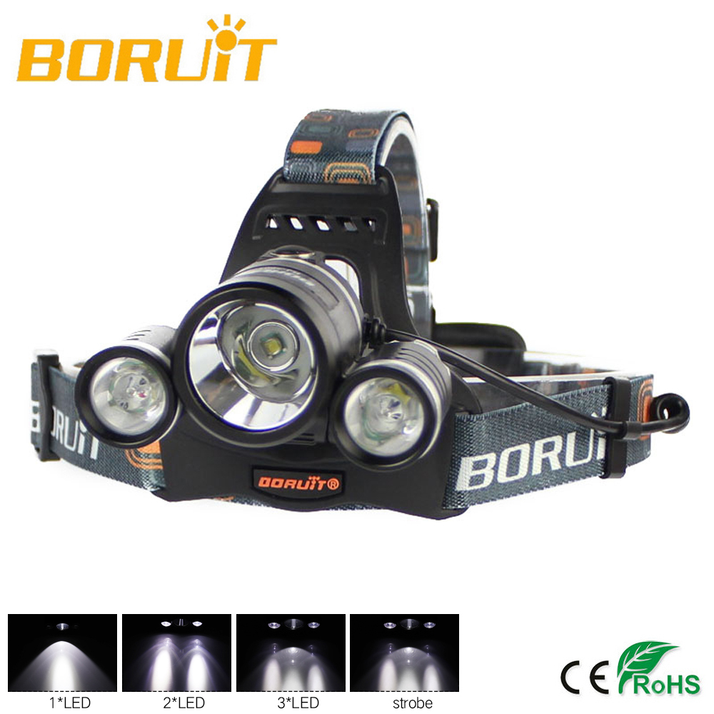 BORUIT Headlamp 6000Lm XML L2 LED Headlight Head Lamp Torch Flashlight Waterproof 4-Mode Micro USB Portable Lighting Flashlight