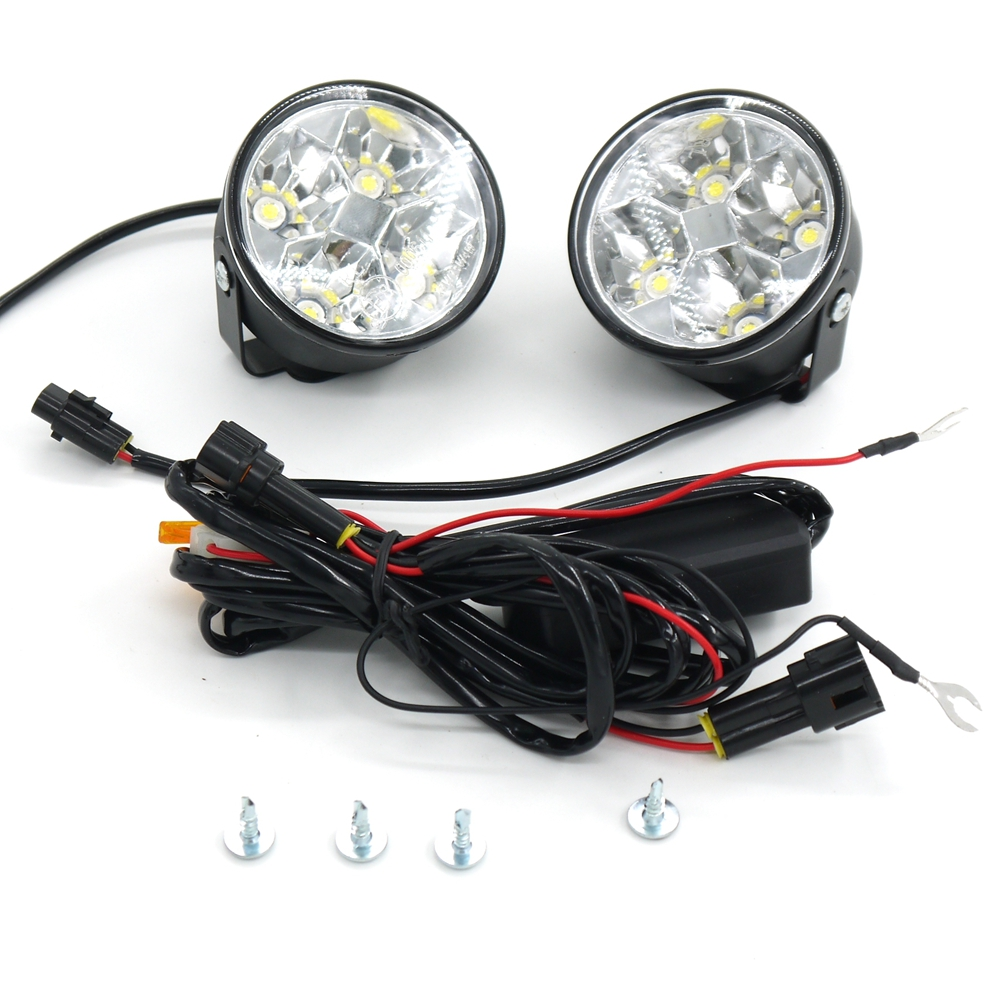 Eonstime 2pcs 12V/24V 4LED 4W Car Auto Daytime Running Fog Light DRL LED Driving Lamp 6000K Waterproof Harness (controller) off qvvcev 2pcs new car led fog lamps 60w 9005 hb3 auto foglight drl headlight daytime running light lamp bulb pure white dc12v