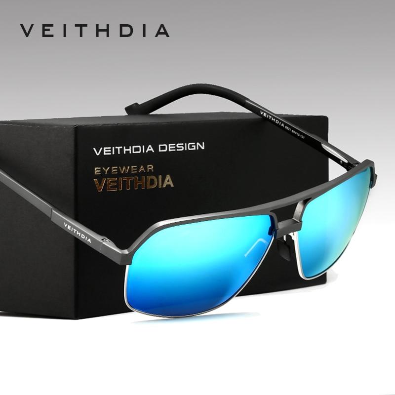 VEITHDIA الرجال سبائك الألومنيوم المغنيسيوم الاستقطاب النظارات الشمسية الرجال مربع خمر الذكور النظارات النظارات الملحقات جوجل 6521