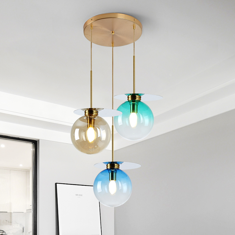 Nordic Style Colorful Glass Chandeliers Modern Simple Foyer Restaurant Macaron Stained Light Luxury E14 Led Pendant Lamp In From Lights