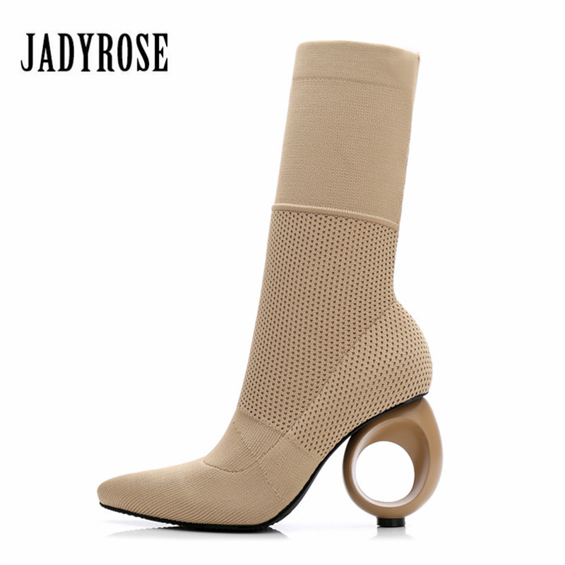 Jady Rose Designer Women Autumn Winter Boots Strange High Heels Pointed Toe Stretch Ankle Boots Knit