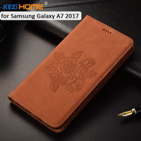 For Samsung Galaxy A7 2017 Case KEZiHOME Matte Genuine Leather Flower Printing Flip Stand Leather Cover