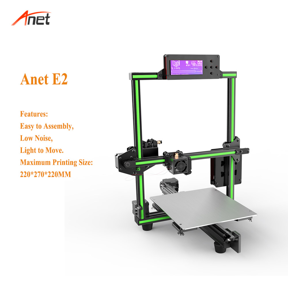 Anet E2 Aluminum Frame 2004 LCD Screen 3d Printer Kit Light to Move 0 1 0