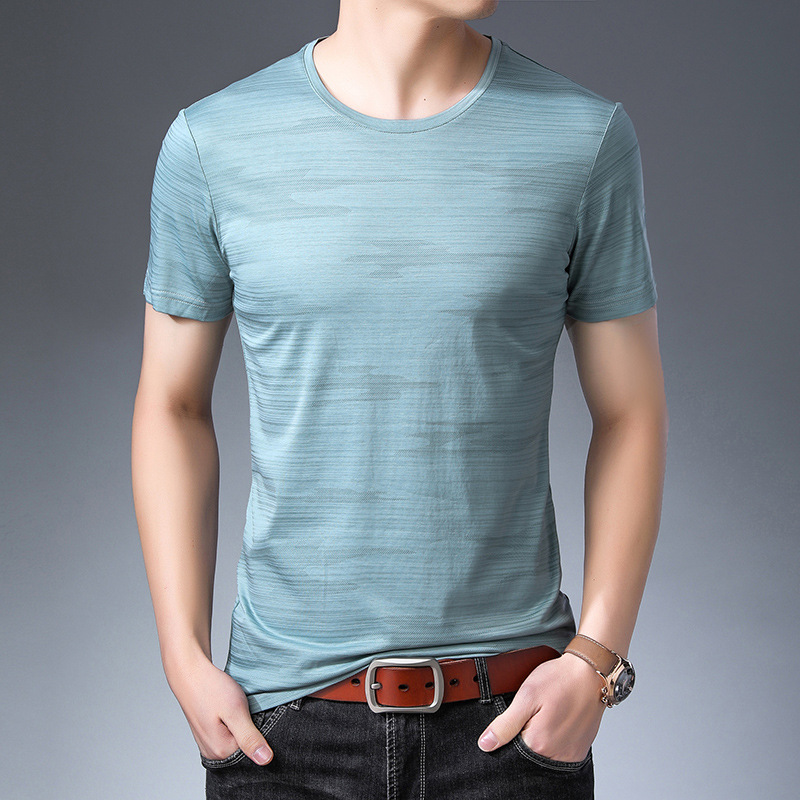 male short-sleeved t shirt half-sleeved 2019 summer tops tees men's trend slim striped clothes 9257