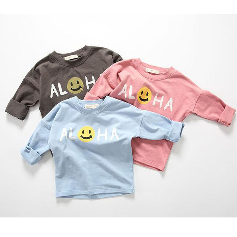 BBK Korea Long Sleeve T shirt boy Lovely Smile letter Pattern Cotton t-shirt girl 2016 Fashion leisure long sleeve blouse kids