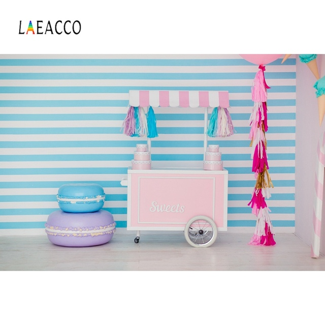 Laeacco Ice Cream Booth Cake Baby Shop Stripes Ribbon Birthday Party Portrait Photo Background Photography Backdrop Photo Studio
