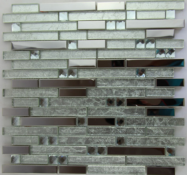 Online Shop stainless steel metal glass mosaic glass tile kitchen ...