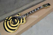 Chinese musical Instruments Factory custom 2015 New Left Handed Custom Zakk Wylde EMG Pickups Yellow Electric Guitar 412