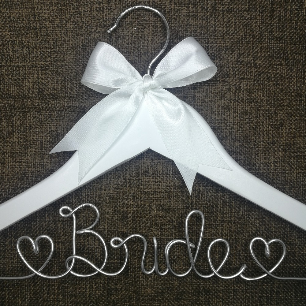 Personalized Wedding Hanger, bridesmaid gifts, name hanger, brides hanger custom Bridal Gift white hanger with bowknot,no date