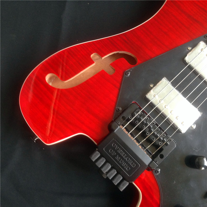 No Head Good Sound Red Electric Guitar With Tiger Striped And Chords