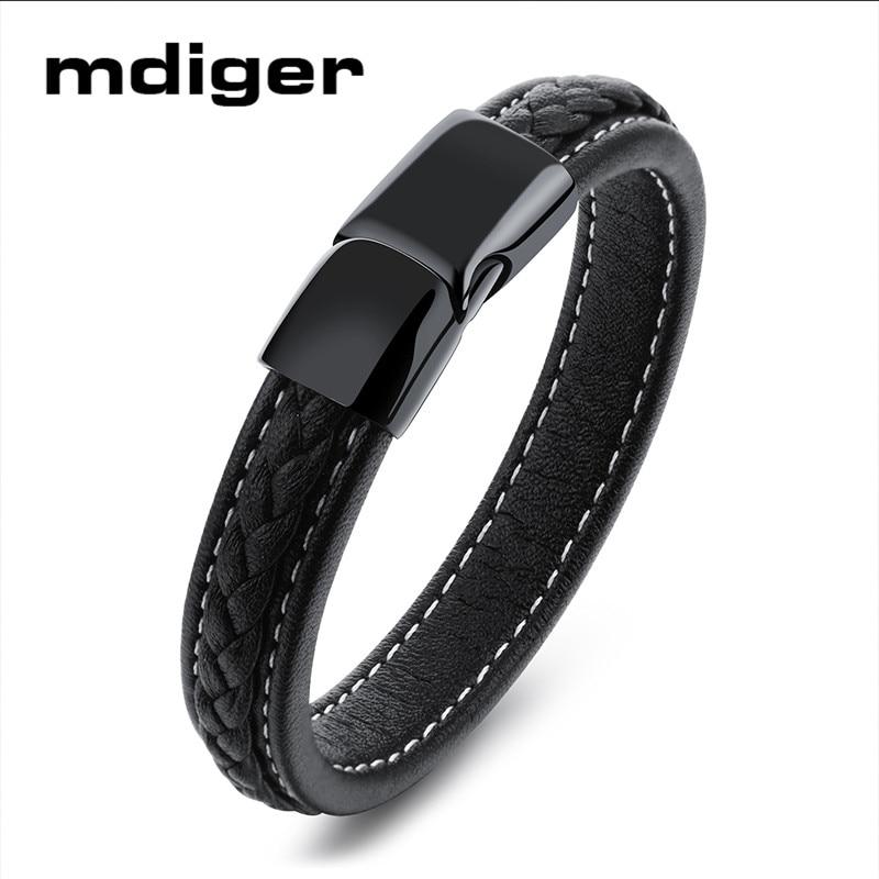 Bracelets en acier titane de haute qualité de marque Mdiger Bracelets en cuir noir pour hommes Bracelet cadeau charme femmes Bracelet 3 PCS/LOT