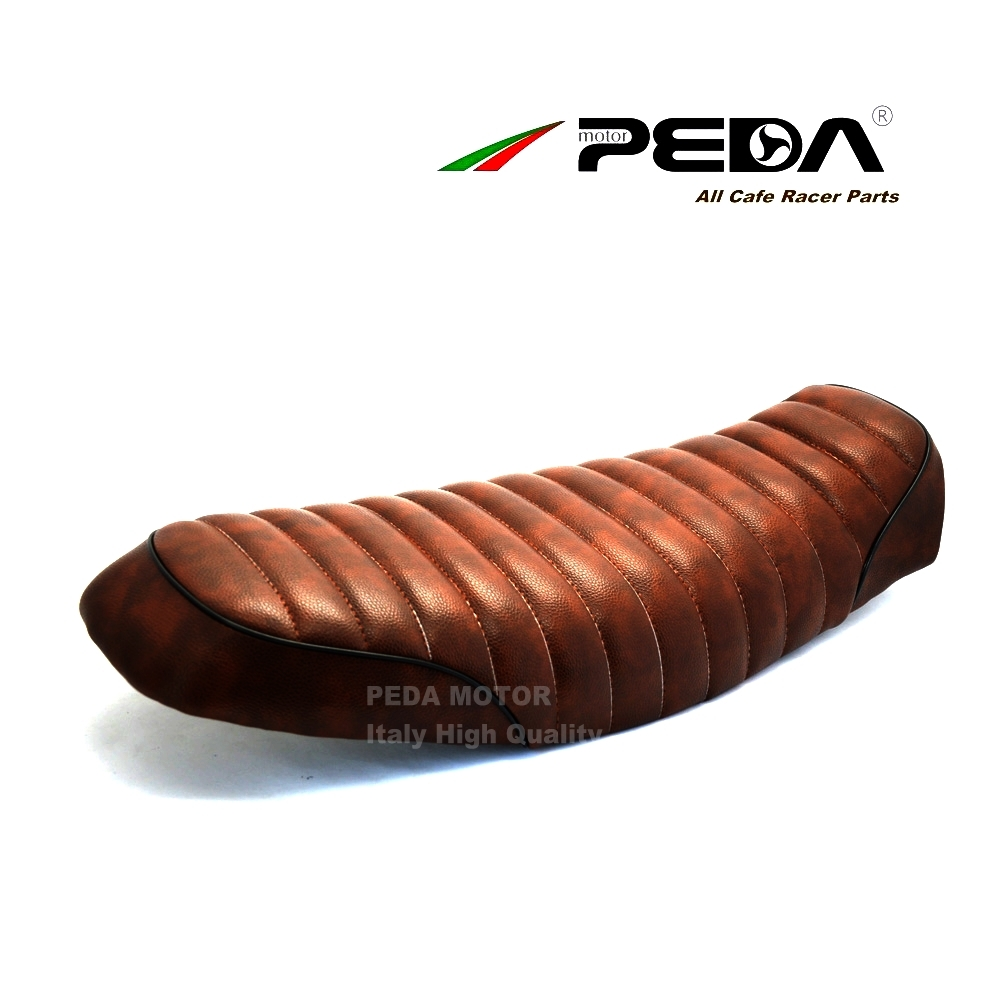 New Brown Brat Long-Flat Cafe Racer Seat Retro Locomotive Refit Motorcycle Seat Leathertee Waterproof Hump Seat Cover for GN