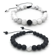 1-2Pcs/Set Adjustable Couples Distance Bracelet Natural Stone White and Black Yin Yang Beaded Bracelets for Men Women(China)