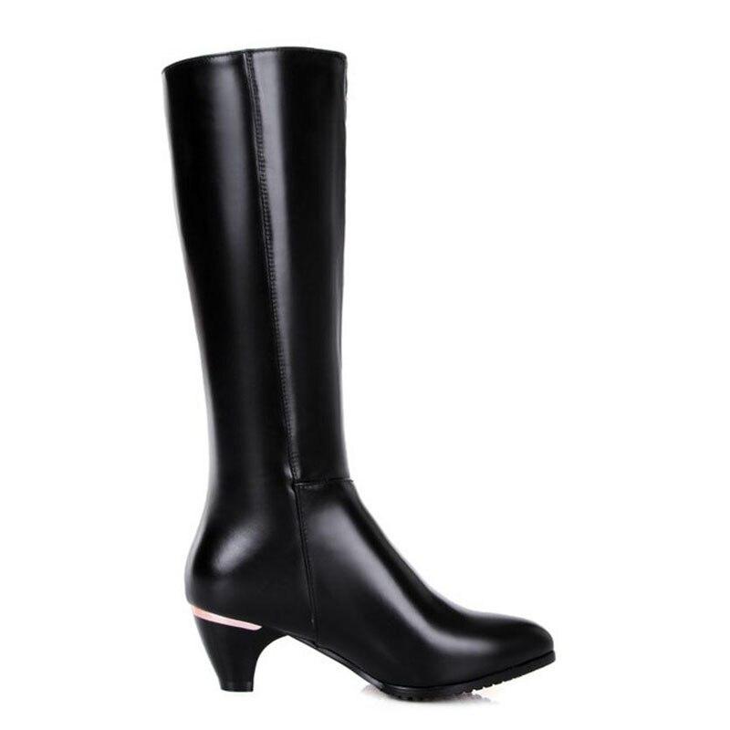 Zapatos Botas Negro Rodilla Cuero 31 Señoras Las Altos Tamaño 45 Mujeres Felpa De Tacones Cálido Rizabina Genuino Del Remaches zqOUxO