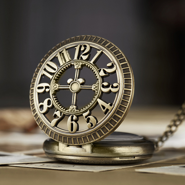 Men Women Pocket Watch Twelve o'clock 12 Hours Vintage Roman Numerals FobChain Watch Hollow Dial Necklace Pendant Time Clock