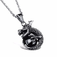 Originality China Style Loong Black Round Crystal Big Pendant 316l  Necklace Men Steel Chain Silver Men Fine Jewelry
