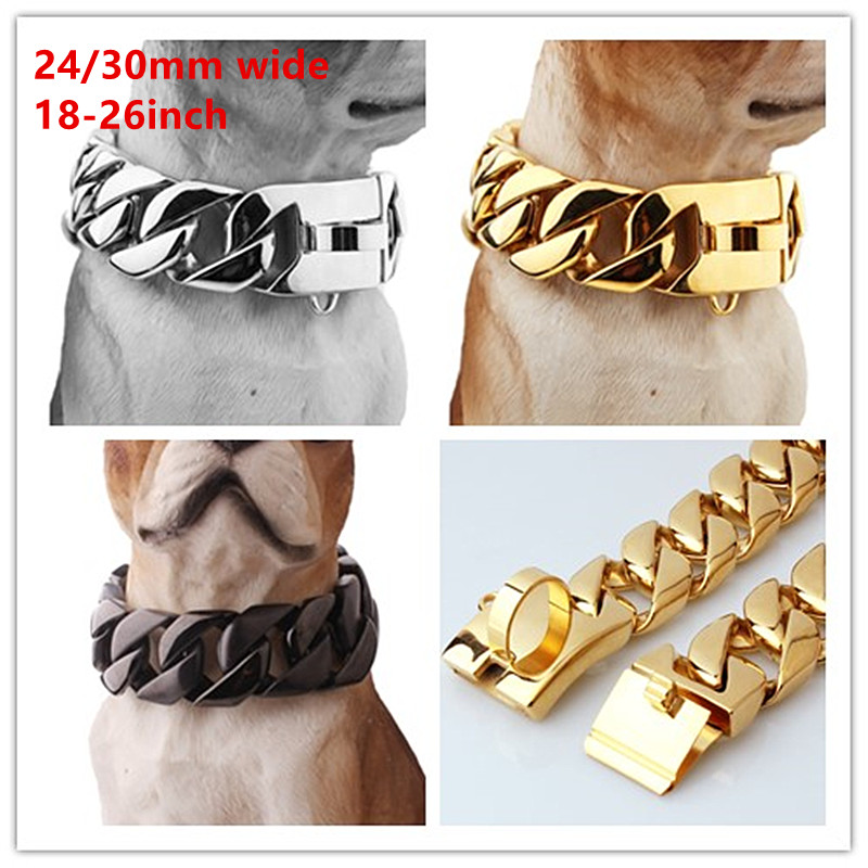 Granny Chic Exaggerated Extra-coarse 316L Stainless Steel Silver Gold Black Cuban Large Pet Dog Chain Necklace Collars Choker fire granny 2018 11 20t20 00