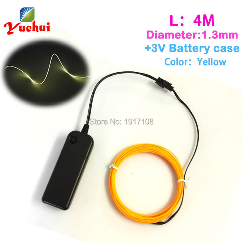4M 1.3mm 10 Color selected With DC-3V Inverter thread Decals Flexible Neon Light EL Wire Rope Tube For Party Decoration