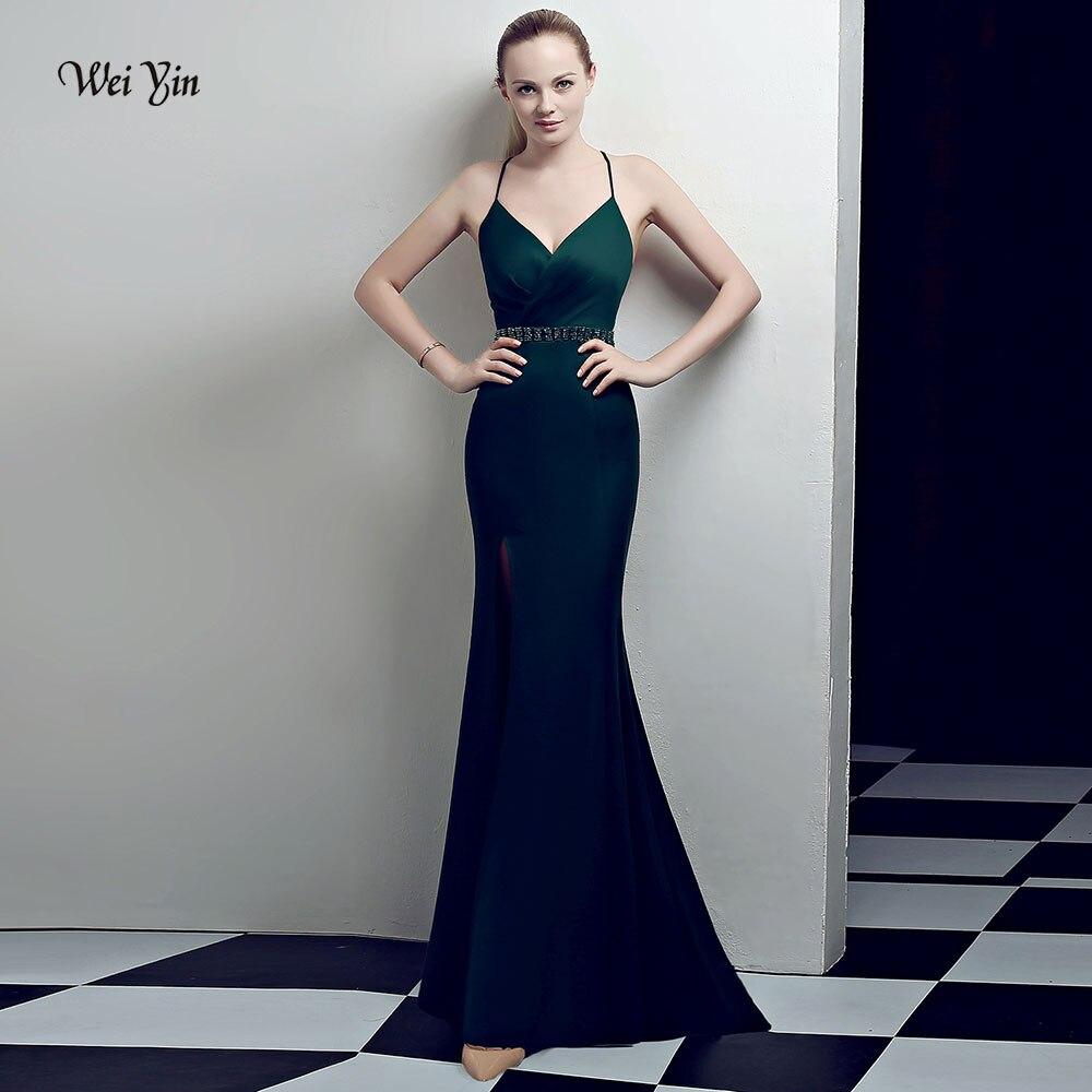 weiyin 2018 Green Luxury   Evening     Dresses   Sexy Deep V Neck Backless Crystal Long Formal Party Gowns Vestidos De Fiesta WY1002