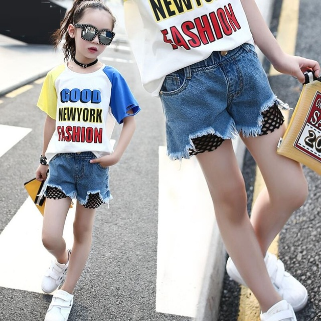 ed5a79b880 Age 3-12 Years 2018 Fashion Summer Kids Girls Shorts Denim Pants Toddler  Teenage Children Kids Short Trousers Girl Jeans JW3205B