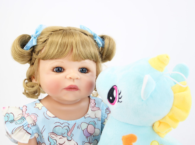 55cm Full Silicone Body Reborn Baby Doll Toy For Girl Vinyl Newborn Blonde Princess Toddler Babies Bebe Bathe Birthday Gift