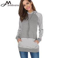 Avodovama M Female Long Sleeve Patchwork Blouse High Street Striped Hooded Casual Tops