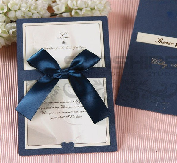 Invitation card wedding cards cm b2 blue color with ribbon invitation card wedding cards cm b2 blue color with ribbon decoration stopboris Gallery
