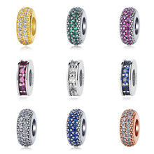 3da53b647 Original 925 Sterling Silver Bead Charm Inspiration Within Eternity Spacer  Charms CZ Fit Pandora Bracelets Women Diy Jewelry