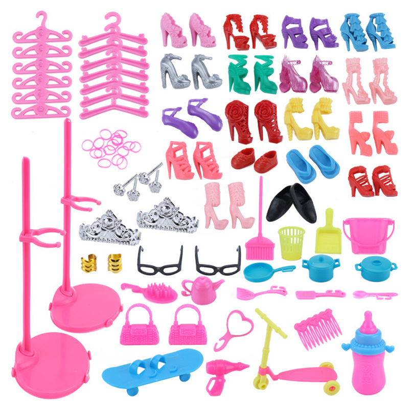 For Barbie Dolls 73 Item/Set Doll Accessories 18 Shoes+23 Hair Accessories+16 Doll House Furniture+12 Hangers+2 Glasses+2 Bags(China)
