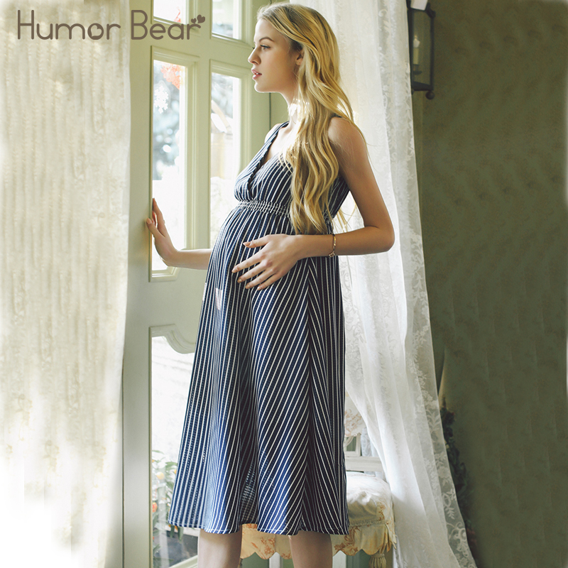 Humor Bear Maternity 2018 New Fashion Style V-neck Striped Chiffon Pregnant Women Dress Maternity Clothes