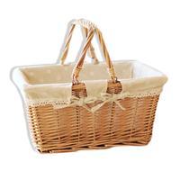 Rural Style Willow Rattan Woven Portable Storage Basket Fruit Flower Gift Basket Household Storage Picnic Basket