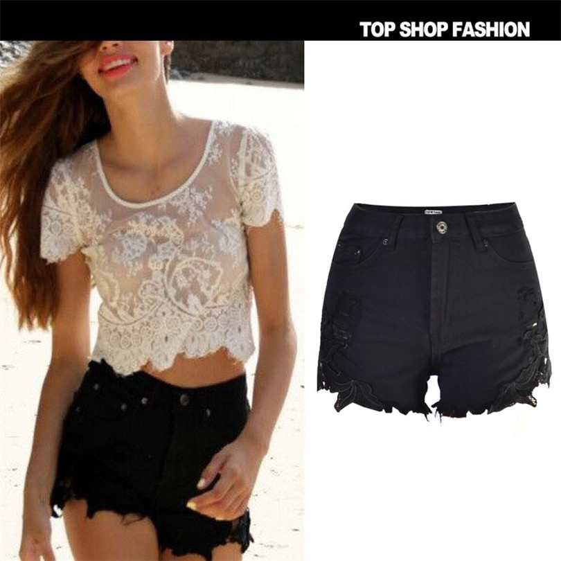 Liva girl Hot hot ladies side explosion spot size of Bohemia Black Lace tailor fashion sexy