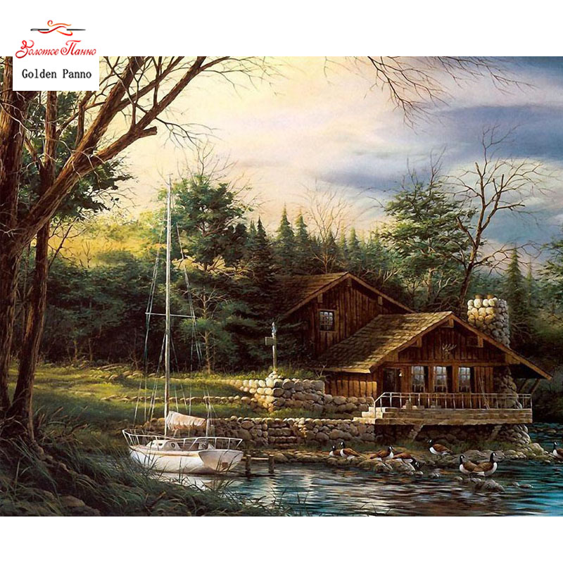 Golden Panno Needlework DIY DMC 14CT 11CT Printed Cross Stitch Embroidery Kits Wooden House White Canvas Counted 19