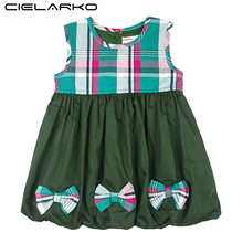 Cielarko Girls Dress Summer Infant Bow Dresses Classic Plaid Vintage Baby Party Frocks Cotton Fashion Children Clothing for Girl