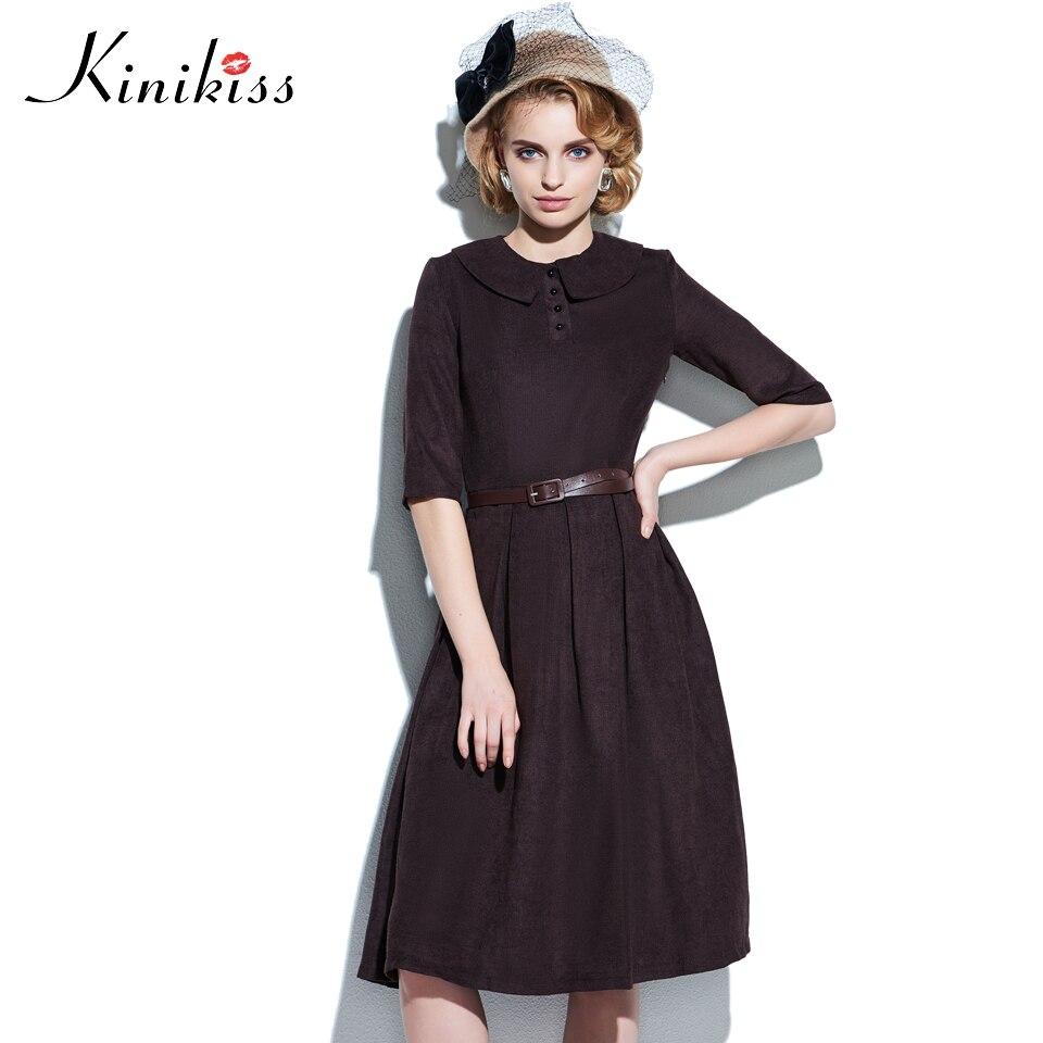 Kinikiss vintage dress mujeres solapa de la media manga del verano dress plisado
