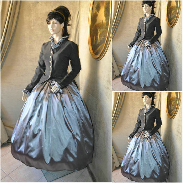 Hot sale! Customer made Grey Vintage Costumes Victorian Dresses ...