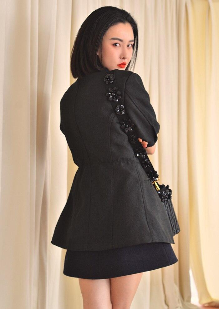 Noir Blazer Vestes Printemps 2018 Veste Manteau Femmes Moitié Linge Rétro Costume Manches Automne Black Getsring Dames OqpHC