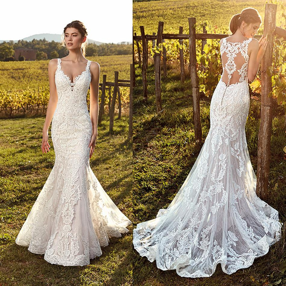 Country Style Mermaid Wedding Dress 2019 Lace Applique Sweep Train vestido de noiva Custom Made  Boho Bridal Gowns