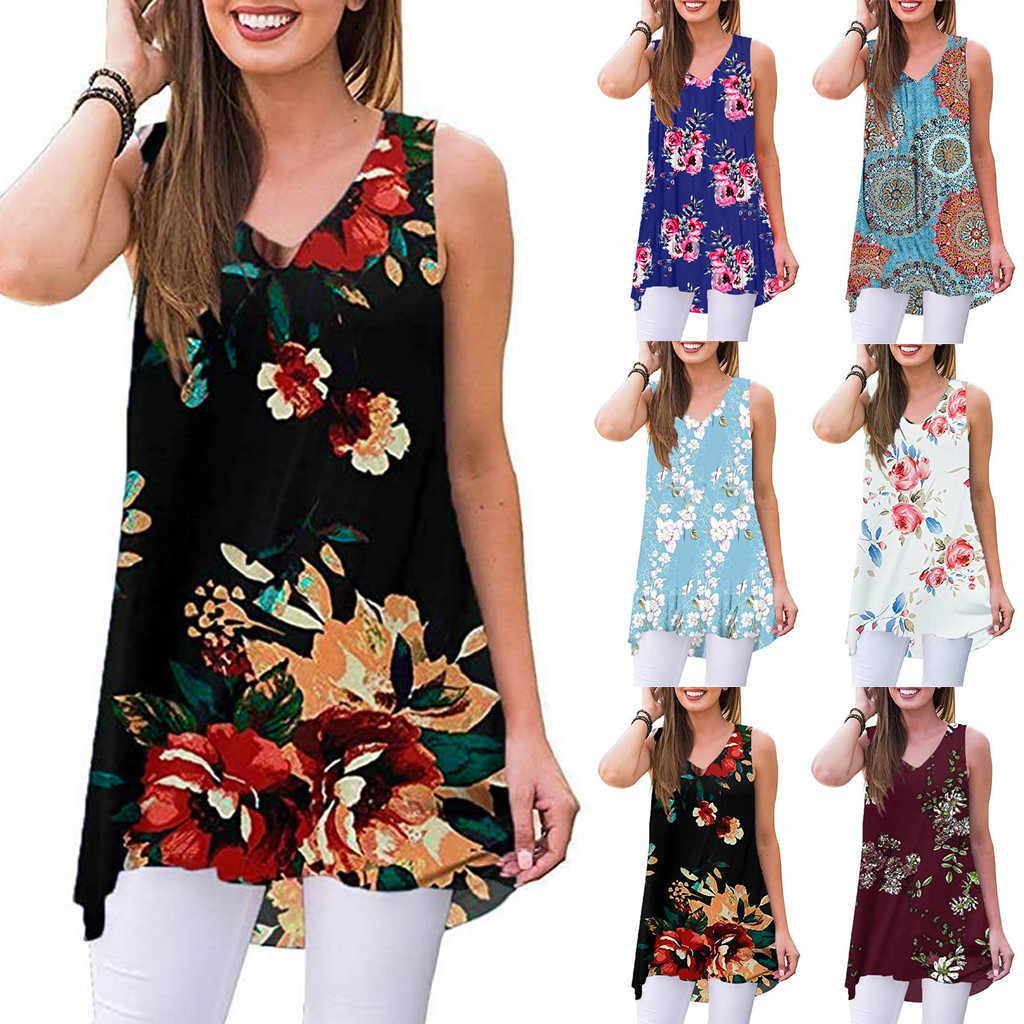 Summer Top Women Summer Sleeveless Print V-Neck T-Shirt Tunic Tops woman clothes Shirts 2019 New Shelves ropa sexy mujer
