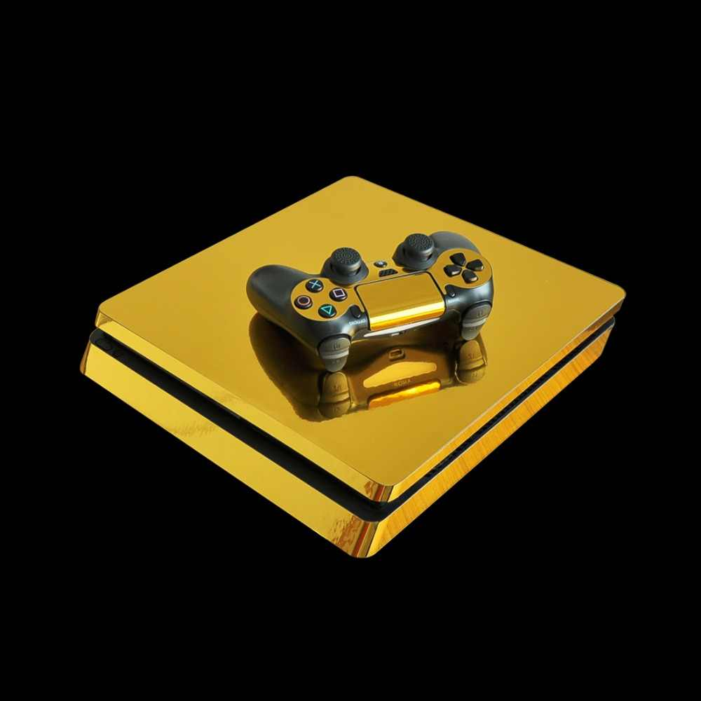 Metel Brushed Gold PS4 Slim Skin Sticker Decal Vinyl for Sony Playstation 4 Console and 2 Controllers PS4 Slim Skin Sticker