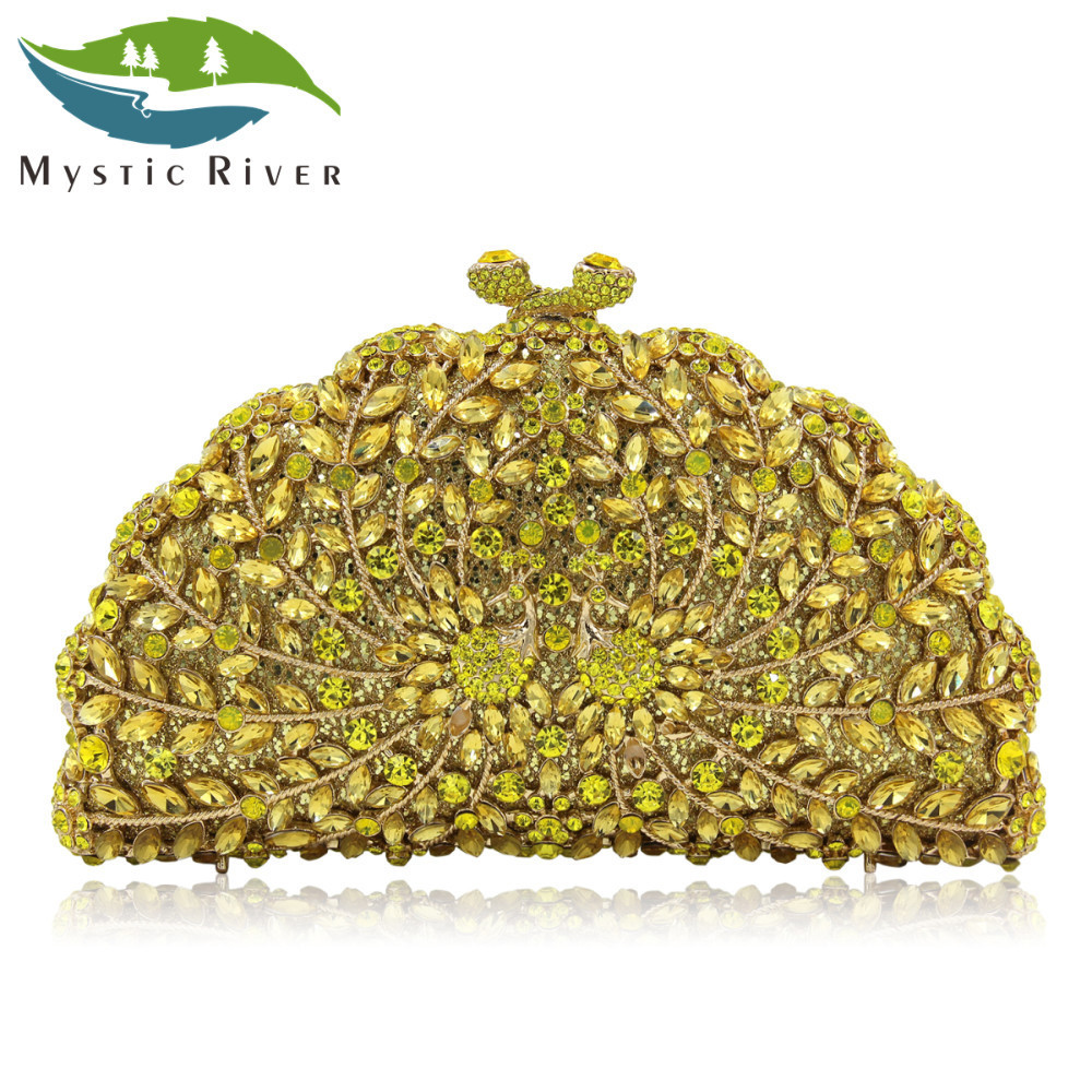 Mystic River Women Clutch Evening Bag Gold Ladies Wedding Clutches Bags Gold Luxury Crystal Diamonds Party Purses milisente women luxury rhinestone clutch evening handbag ladies crystal wedding purses dinner party bag gold