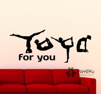 Yoga For You Wall Decal Yoga Poses Girl Fitness Gym Sports Dance Vinyl Sticker Home Room