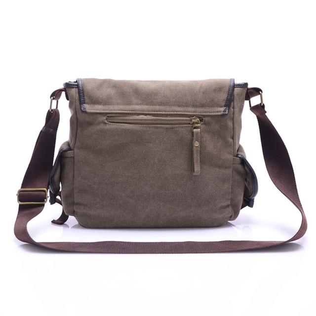 High Quality Canvas Bag Men's solid cover zipper casual shoulder school bags men crossbody bag Men Messenger Bags 4